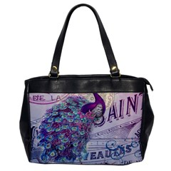 French Scripts  Purple Peacock Floral Paris Decor Oversize Office Handbag (one Side)