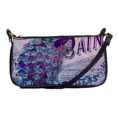 French Scripts  Purple Peacock Floral Paris Decor Evening Bag