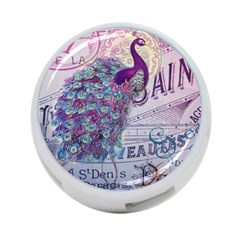 French Scripts  Purple Peacock Floral Paris Decor 4-Port USB Hub (Two Sides)