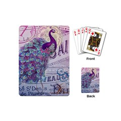 French Scripts  Purple Peacock Floral Paris Decor Playing Cards (Mini)