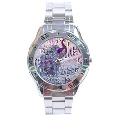 French Scripts  Purple Peacock Floral Paris Decor Stainless Steel Watch (Men s)