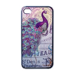 French Scripts  Purple Peacock Floral Paris Decor Apple iPhone 4 Case (Black)