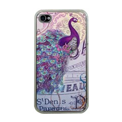 French Scripts  Purple Peacock Floral Paris Decor Apple iPhone 4 Case (Clear)