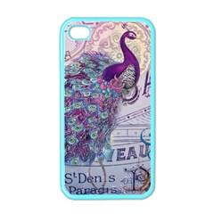 French Scripts  Purple Peacock Floral Paris Decor Apple Iphone 4 Case (color)