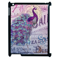 French Scripts  Purple Peacock Floral Paris Decor Apple iPad 2 Case (Black)
