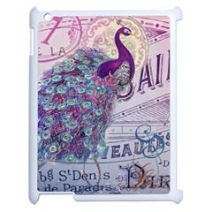 French Scripts  Purple Peacock Floral Paris Decor Apple Ipad 2 Case (white)