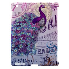 French Scripts  Purple Peacock Floral Paris Decor Apple Ipad 3/4 Hardshell Case (compatible With Smart Cover)