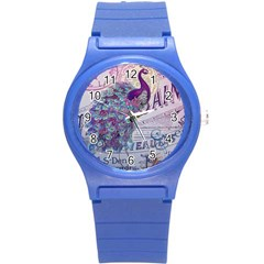 French Scripts  Purple Peacock Floral Paris Decor Plastic Sport Watch (small)