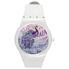 French Scripts  Purple Peacock Floral Paris Decor Plastic Sport Watch (Medium)