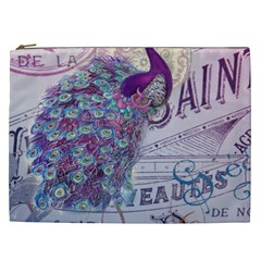 French Scripts  Purple Peacock Floral Paris Decor Cosmetic Bag (XXL)