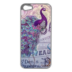 French Scripts  Purple Peacock Floral Paris Decor Apple iPhone 5 Case (Silver)