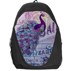 French Scripts  Purple Peacock Floral Paris Decor Backpack Bag