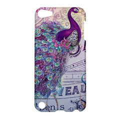 French Scripts  Purple Peacock Floral Paris Decor Apple Ipod Touch 5 Hardshell Case