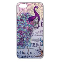 French Scripts  Purple Peacock Floral Paris Decor Apple Seamless iPhone 5 Case (Clear)