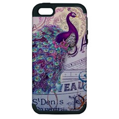 French Scripts  Purple Peacock Floral Paris Decor Apple Iphone 5 Hardshell Case (pc+silicone)