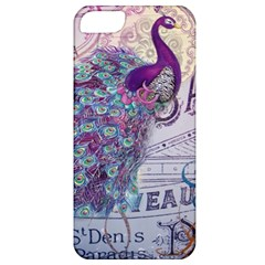 French Scripts  Purple Peacock Floral Paris Decor Apple iPhone 5 Classic Hardshell Case
