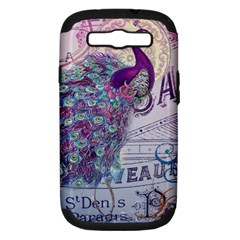 French Scripts  Purple Peacock Floral Paris Decor Samsung Galaxy S III Hardshell Case (PC+Silicone)