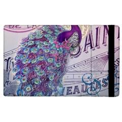French Scripts  Purple Peacock Floral Paris Decor Apple iPad 2 Flip Case
