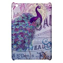 French Scripts  Purple Peacock Floral Paris Decor Apple iPad Mini Hardshell Case