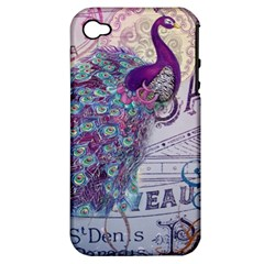 French Scripts  Purple Peacock Floral Paris Decor Apple iPhone 4/4S Hardshell Case (PC+Silicone)