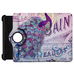 French Scripts  Purple Peacock Floral Paris Decor Kindle Fire Hd 7  Flip 360 Case