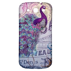 French Scripts  Purple Peacock Floral Paris Decor Samsung Galaxy S3 S Iii Classic Hardshell Back Case