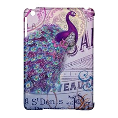French Scripts  Purple Peacock Floral Paris Decor Apple iPad Mini Hardshell Case (Compatible with Smart Cover)