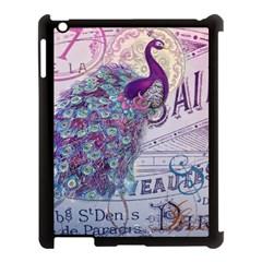 French Scripts  Purple Peacock Floral Paris Decor Apple iPad 3/4 Case (Black)