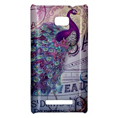 French Scripts  Purple Peacock Floral Paris Decor HTC 8X Hardshell Case