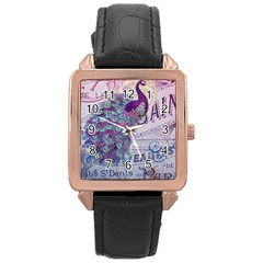 French Scripts  Purple Peacock Floral Paris Decor Rose Gold Leather Watch