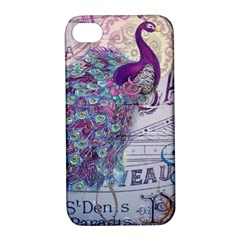 French Scripts  Purple Peacock Floral Paris Decor Apple iPhone 4/4S Hardshell Case with Stand