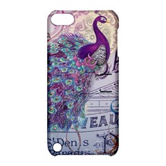 French Scripts  Purple Peacock Floral Paris Decor Apple iPod Touch 5 Hardshell Case with Stand