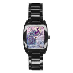 French Scripts  Purple Peacock Floral Paris Decor Men s Stainless Steel Barrel Analog Watch
