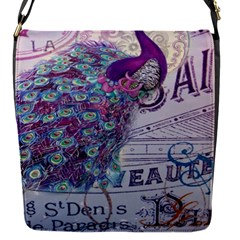 French Scripts  Purple Peacock Floral Paris Decor Removable Flap Cover (Small)