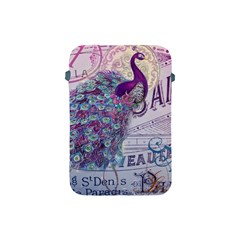 French Scripts  Purple Peacock Floral Paris Decor Apple iPad Mini Protective Soft Case