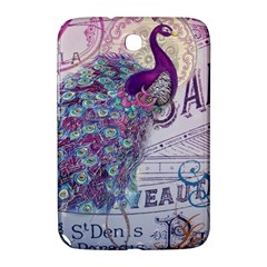 French Scripts  Purple Peacock Floral Paris Decor Samsung Galaxy Note 8.0 N5100 Hardshell Case