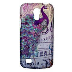 French Scripts  Purple Peacock Floral Paris Decor Samsung Galaxy S4 Mini Hardshell Case