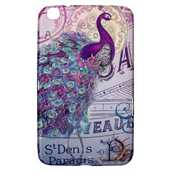 French Scripts  Purple Peacock Floral Paris Decor Samsung Galaxy Tab 3 (8 ) T3100 Hardshell Case