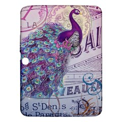 French Scripts  Purple Peacock Floral Paris Decor Samsung Galaxy Tab 3 (10.1 ) P5200 Hardshell Case