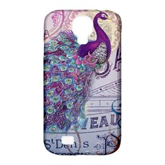 French Scripts  Purple Peacock Floral Paris Decor Samsung Galaxy S4 Classic Hardshell Case (PC+Silicone)