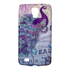 French Scripts  Purple Peacock Floral Paris Decor Samsung Galaxy S4 Active (I9295) Hardshell Case