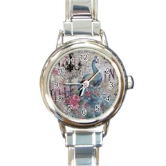 French Vintage Chandelier Blue Peacock Floral Paris Decor Round Italian Charm Watch