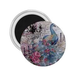 French Vintage Chandelier Blue Peacock Floral Paris Decor 2 25  Button Magnet