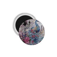 French Vintage Chandelier Blue Peacock Floral Paris Decor 1.75  Button Magnet