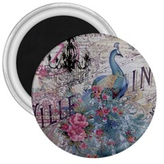 French Vintage Chandelier Blue Peacock Floral Paris Decor 3  Button Magnet