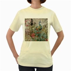 French Vintage Chandelier Blue Peacock Floral Paris Decor  Womens  T-shirt (Yellow)