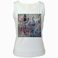 French Vintage Chandelier Blue Peacock Floral Paris Decor Womens  Tank Top (White)