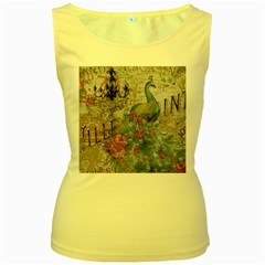 French Vintage Chandelier Blue Peacock Floral Paris Decor Womens  Tank Top (Yellow)