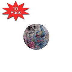 French Vintage Chandelier Blue Peacock Floral Paris Decor 1  Mini Button (10 Pack)