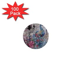 French Vintage Chandelier Blue Peacock Floral Paris Decor 1  Mini Button (100 pack)